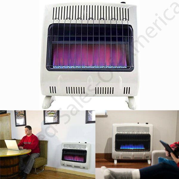 Natural Gas Heater Vent Free Blue Flame Wall Mountable Theromostat ODS 30000 BTU $209.99