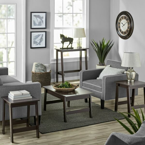 NEW Mainstays Pilson 3 Piece Coffee Table and End Table Set Espresso Finish