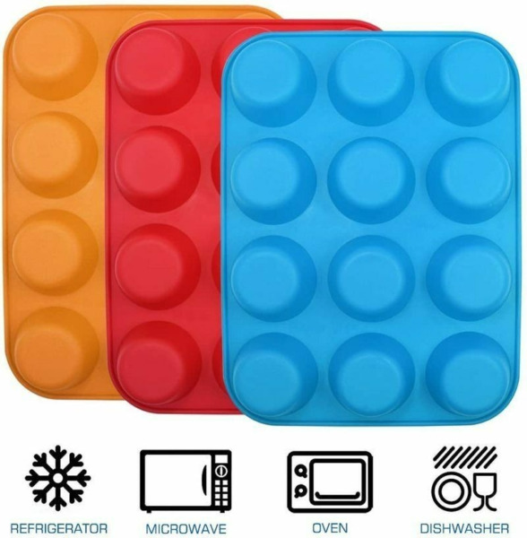 Silicone Muffin Pan Nonstick Cupcake Baking Cake Molds Tray Home Bakeware US