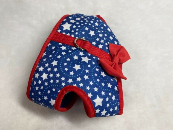 SIMPLY DOG Small Red White Blue Starry Patriotic Dog Puppy Bowtie Harness $7.95