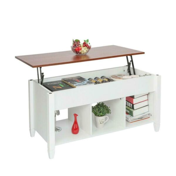 Lift Top Coffee Table w Hidden Compartment Storage Shelves Modern Furniture NEW