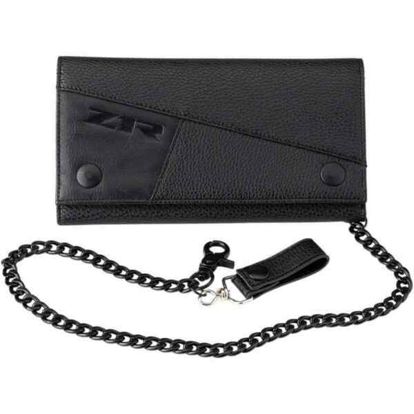Z1R Accessories Tri Fold Long Leather Black Wallets With Metal Chains For Men $39.95