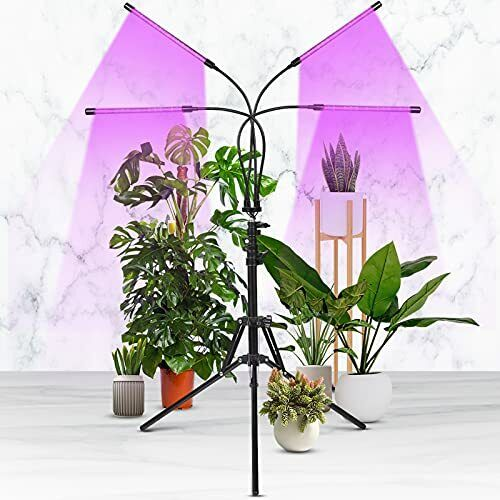 Led Grow Light With Stand For Indoor Plants 4Head Led Full Spectrum Plant Grow $35.40