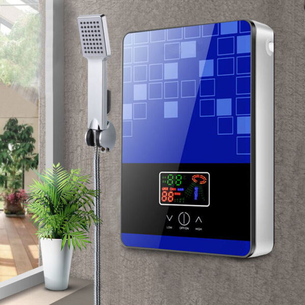 110V 4500W Electric Tankless Instant Water Heater Shower Kitchen Tap Faucet Blue $74.00