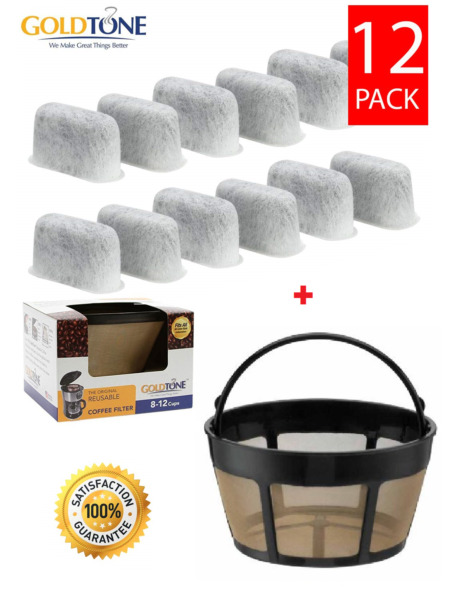 12 Replacement Charcoal Water Filters amp; Basket Filter for ALL Cuisinart Coffee