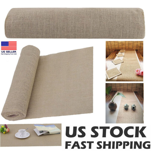 30FT Hessian Rustic Burlap Table Runner Wedding Banquet Party Dinner Table Decor