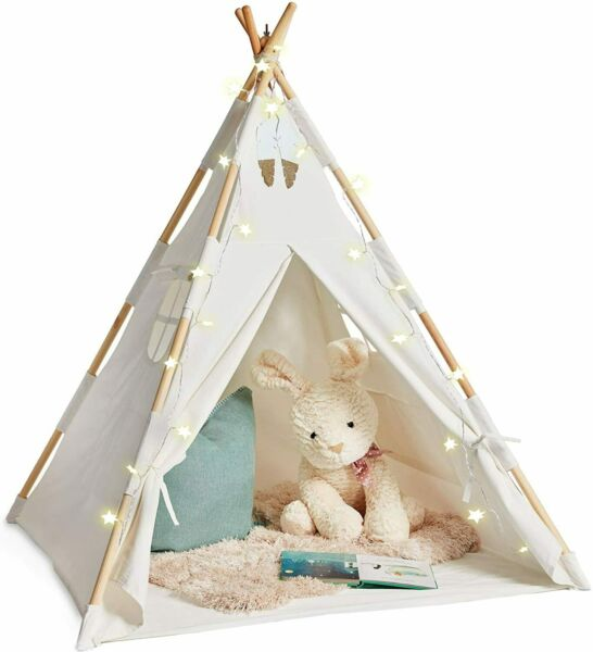 Teepee Tent for Kids with Lights Pure Cotton Kids Tepee Tents Indoor for Boys $43.99