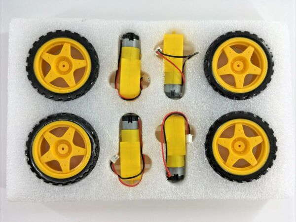 4 sets Smart Car Robot Tire Wheel with DC Gear Motor yellow NEW FREE SHIPPING $17.99