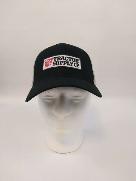 TSC Tractor Supply Co. Black and White Baseball Cap Trucker Style Hat One Size $11.99
