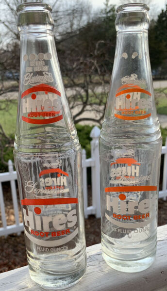 2 Vintage Hires Root Beer Bottles 1975 And 1971 Evanston ILL