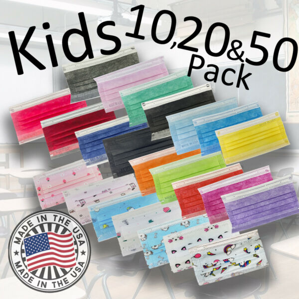 Kids 3 Ply Disposable Face Mask 20 amp; 50 Pack Made in USA Non Woven Polypropylene $10.99