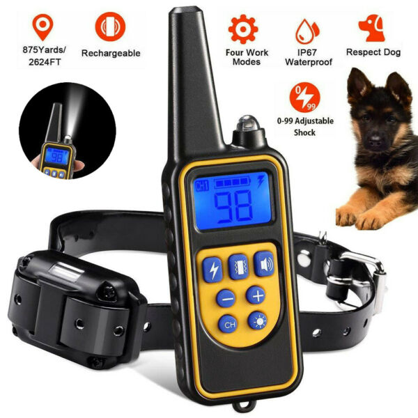 2600 FT Remote Dog Shock Training Collar Rechargeable Waterproof LCD Pet Trainer $25.99