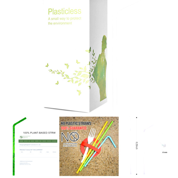 200 Count 100% Plant Based Compostable Straws Plasticless Biodegradable Fle... $12.93
