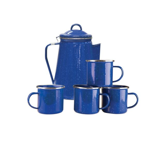 Stansport Enamel 8 Cup Coffee Pot With Percolator And 4 12 Ounce Mugs BLUE
