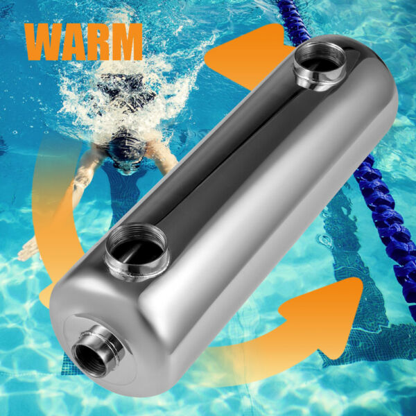 In line Desigh Pool Heat Exchanger Heat Pool Heater 1quot;2quot;FPT 400 kBtu Stainless $209.09
