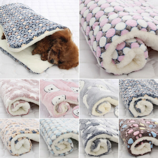 Puppy Pet Blanket Cat Dog Bed Kennel Comfy Soft Large Crate Pad Mattress Mat