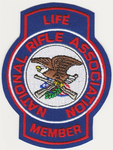 NRA National Rifle Association Life Member Embroidered 4 1 4quot; Iron On Patch $6.49