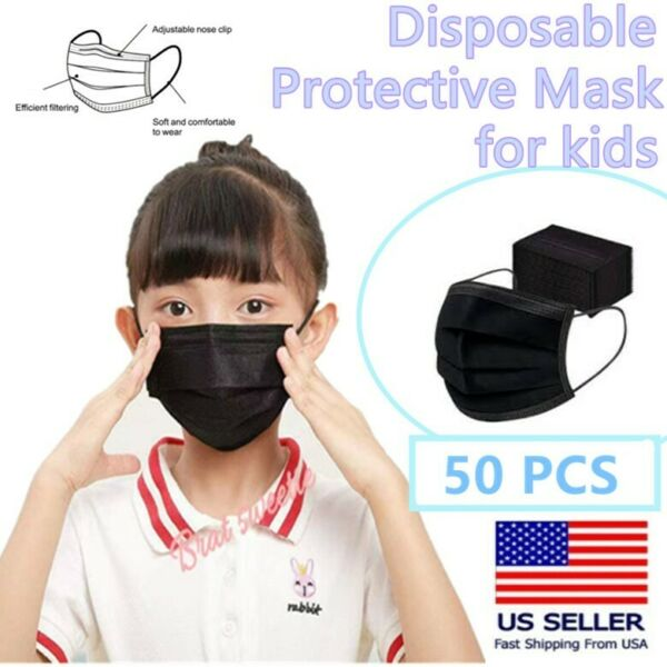 50 Pcs Kids Children Black 3 Ply Disposable Face Mask Earloop Mouth Cover