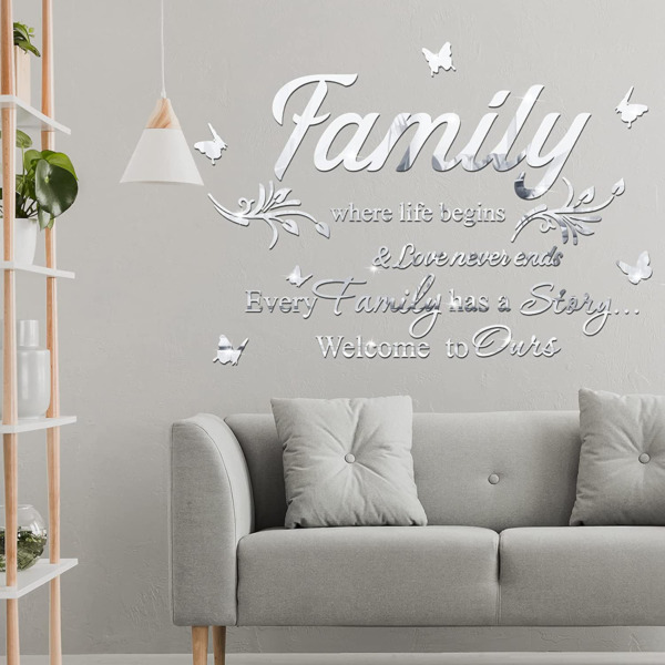 3D Family Acrylic Mirror Stickers DIY Wall Decor Self Adhesive Home Room Office $16.53