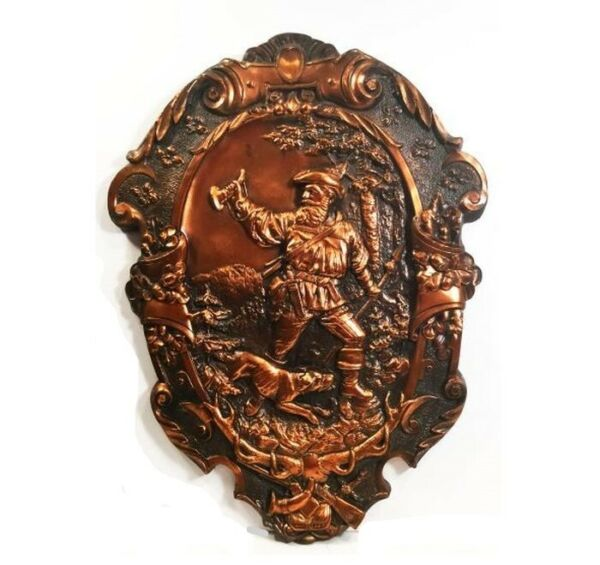 Vintage Black Forest wall plaque. Tyrolean man w hunting dog. Lithuanian made.