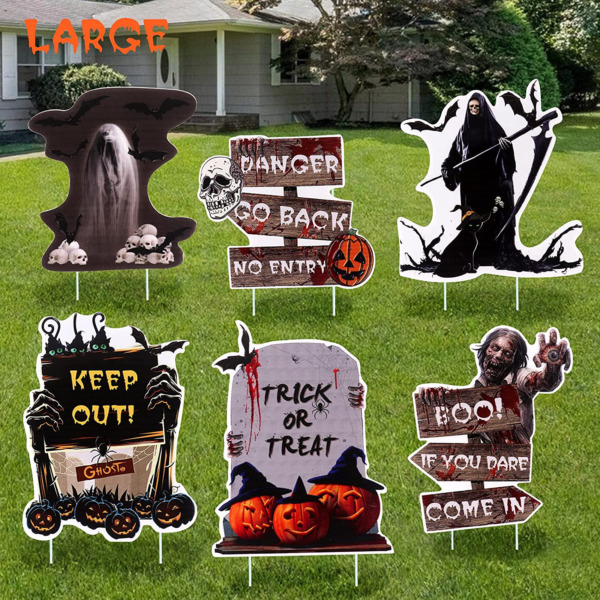 Scary Outdoor Halloween Decorations Yard Signs 6 Pack Beware Signs Yard Stakes $9.09