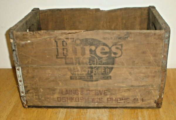 Vintage Hires Root Beer Wood Wooden Soda Crate Box 24 12 oz Oshkosh Wisconsin