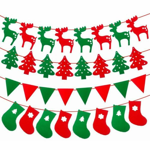 Gift Flags Christmas Decorations Banner Xmas Party Bunting Hanging Garlands $2.28