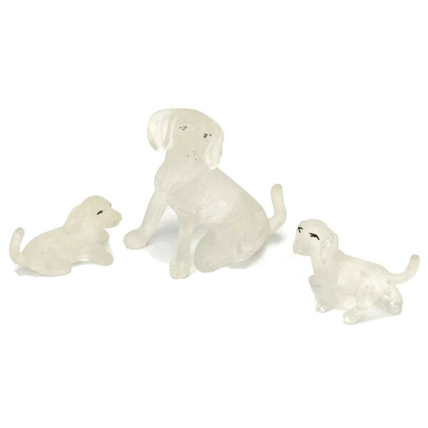 Vtg Frosted Clear Plastic Dog Puppies Lab Retriever Hong Kong Set Of 3 $22.31