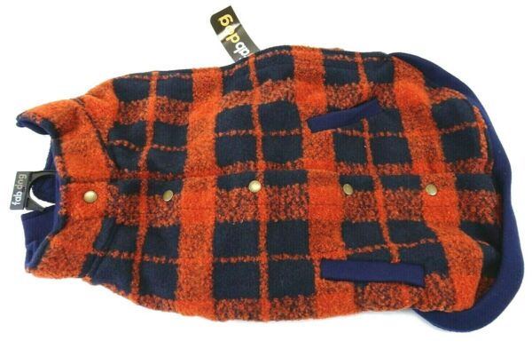 FabDog Fab Dog Plaid Boucle Dog Jacket Red Navy Size 18 inch New with Tags $50.00