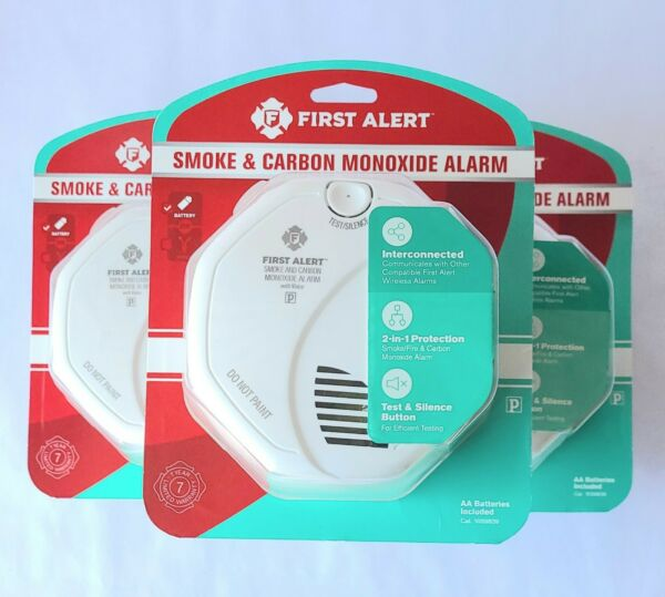 3 pack First Alert Smoke amp; Carbon Monoxide Alarm Battery Operated 1039839 New $84.95