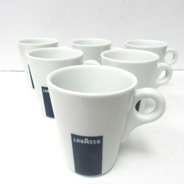 Set of 6 Lavazza Coffee Tea Mugs Cups by Apulum Porcelain New White Blue