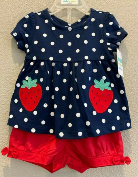 NWT Child of Mine Carter#x27;s Baby Girls 6 9 Months Shirt Shorts Strawberry Outfit