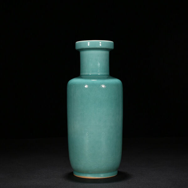 antique Chinese Kangxi of Qing Dynasty Coral Green Green glaze wooden bottles