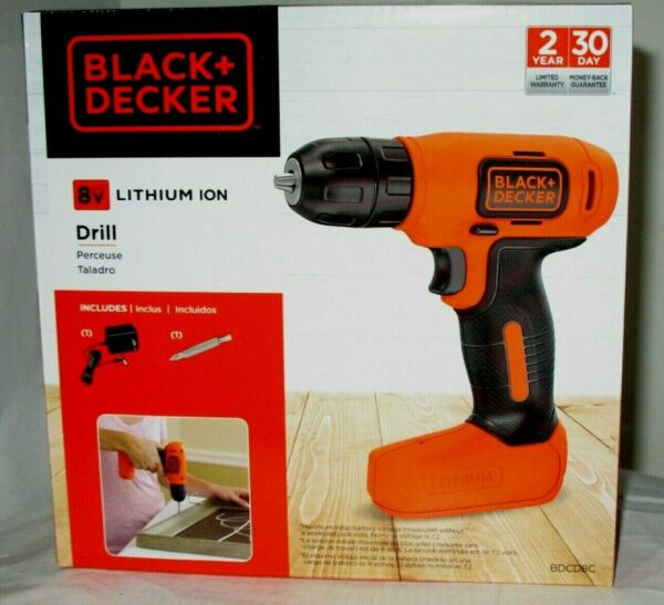 BLACK amp; DECKER 8Volt Cordless Lithium Ion Rechargeable 3 8 Drill amp; Charger NEW