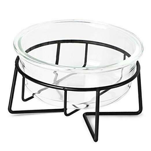 Glass Raised Cat or Small Dog Dishes with Metal Stand 20 Ounces Pet Food or $28.18
