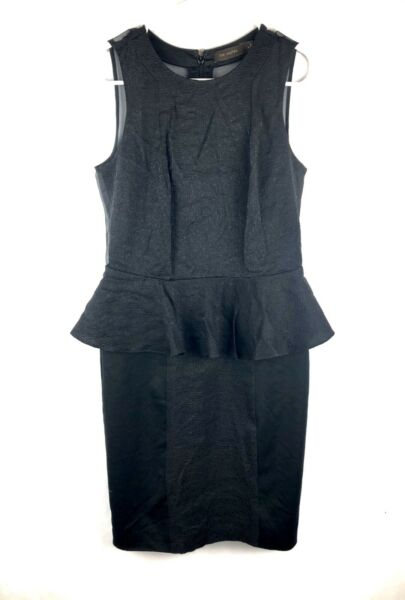 Womens The Limited Solid Black Dress Size 2 Zip Up Sleeveless Knee Length Sheer $19.99