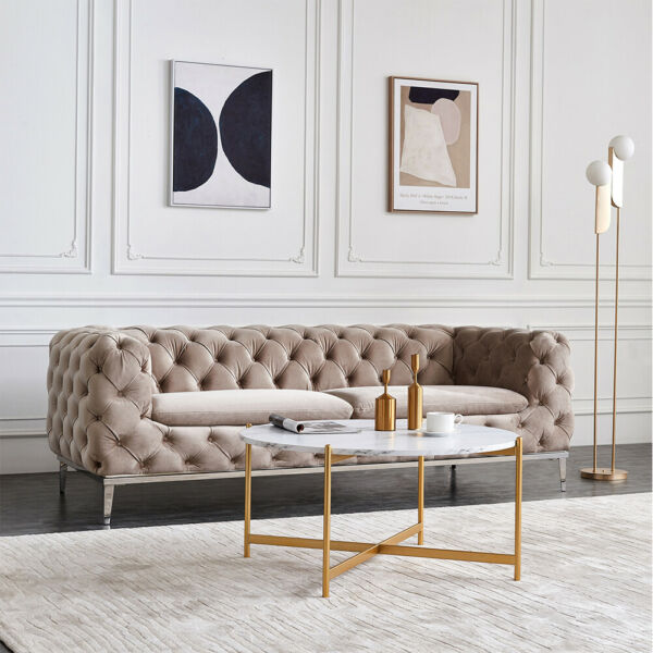 Sofa Side Coffee Table Sets Round Nesting Gold Frame Furniture for Living Room