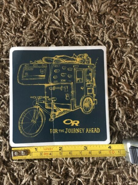 OR Outdoor Research Square Blue Yellow Trailer Bike Logo Sticker Decal Approx 4quot; $7.00