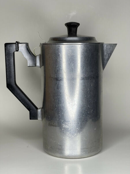 Vintage Miracle Maid Aluminum Stove Top Camp Coffee Pot with Insert Pat. 2528227