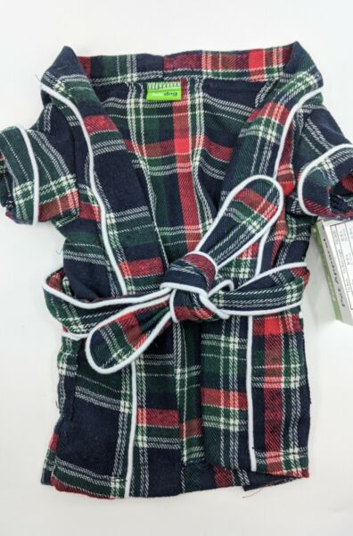 quot;Fab Dogquot; Dog Puppy Pet Plaid Flannel Robe Pajamas NWT size S Cute $9.00