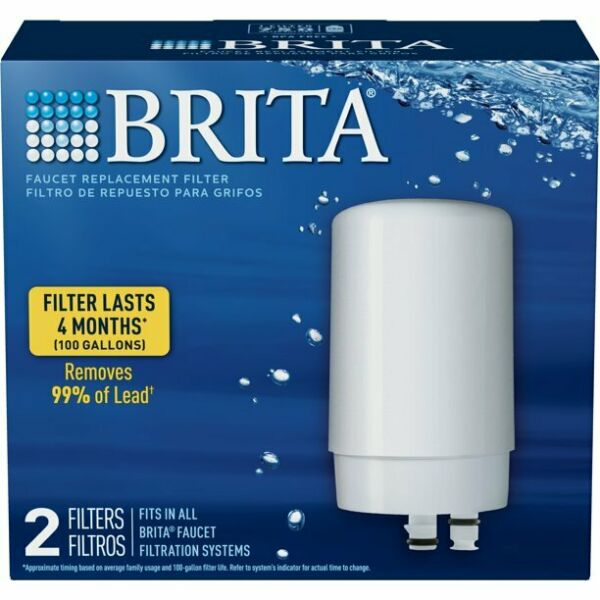 Brita Faucet Replacement Filter 2 Filters Pack White FR 200