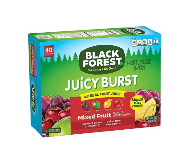 Black Forest Fruit Snacks Juicy Bursts Mixed Fruit 0.8 Ounce 40 Count