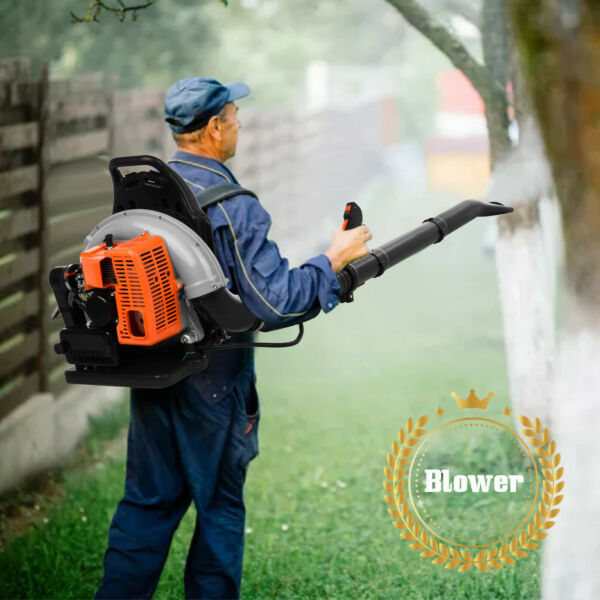 80cc Commercial Backpack Powerful Leaf Blower 2 Stroke 850CFM Gas Powered Blower