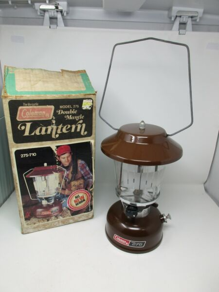 COLEMAN MODEL 275 710 DOUBLE MANTLE LANTERN IN BOX 1979 BROWN WORKS $184.99