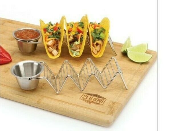 2 Pack Premium Stainless Steel Taco Stand Holders with Salsa Cups 2 Stands Cups $13.99