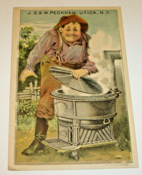 Peckham#x27;s Portable Agricultural Furnace and Farmers Boiler Victorian Trade Card $17.46
