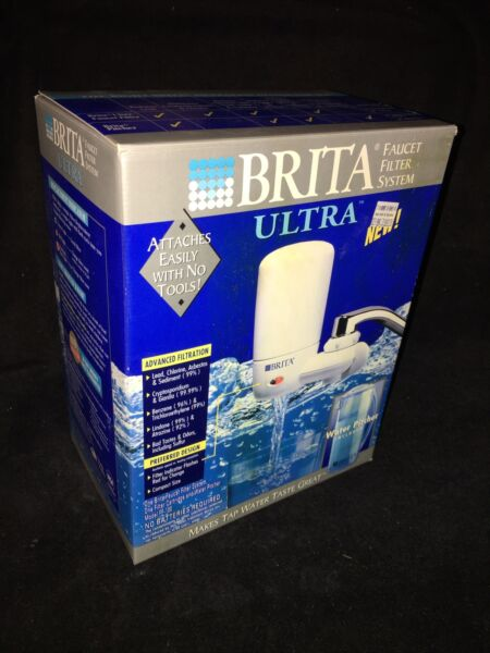 New Brita On Tap Faucet Mount Water Filtration System Filter with Carafe