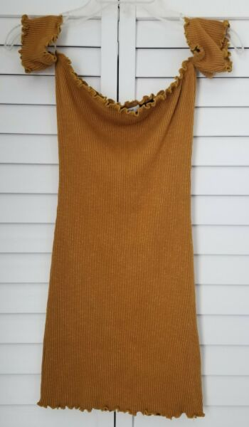 Better Be Mustard Short Off the Shoulder Ribbed Stretch Bodycon Dress Women#x27;s M $8.99