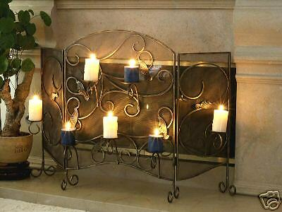 Wrought Iron Fireplace Screen with Candle Holder