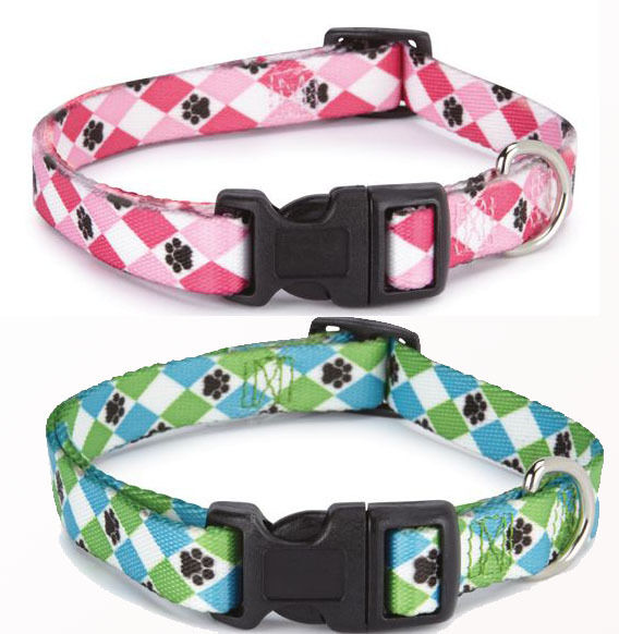 Casual Canine Pooch Pattern Argyle Nylon Dog Collar